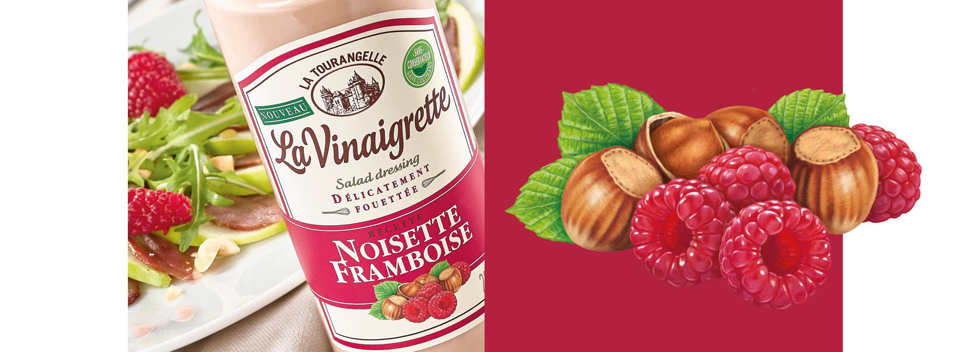 noisette framboise Vinaigrette packaging la tourangelle VIKIU