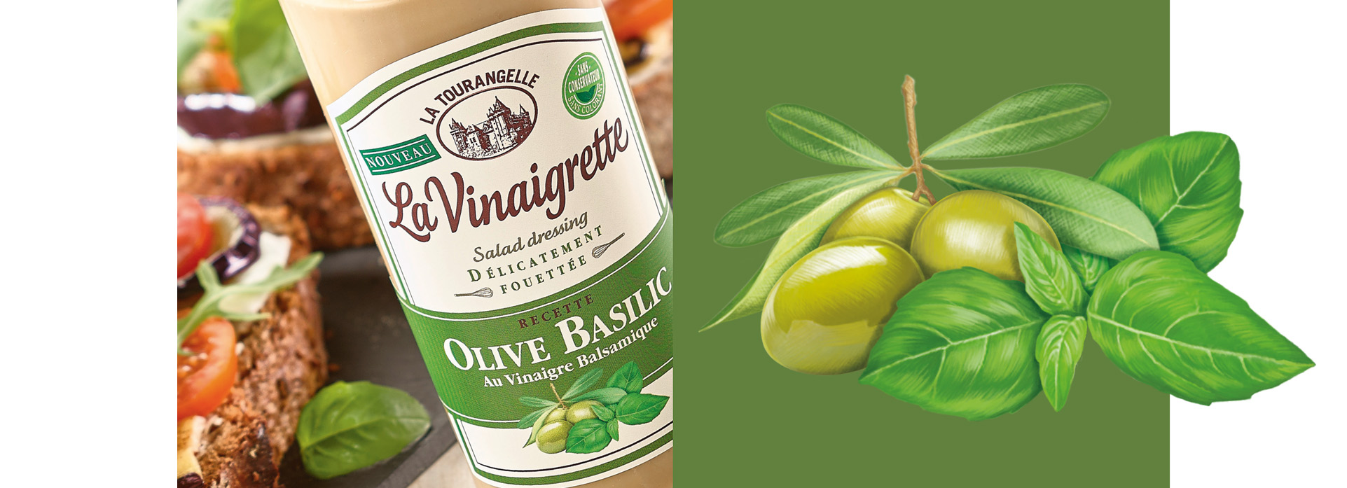 olive basilic Vinaigrette packaging la tourangelle VIKIU